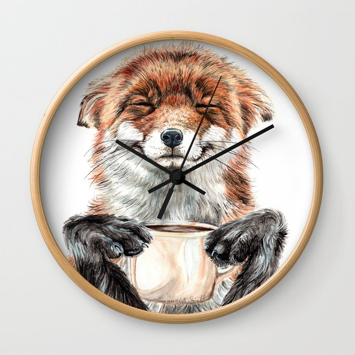 """"""" Morning fox """" Red fox with her morning coffee Wall Clock"""