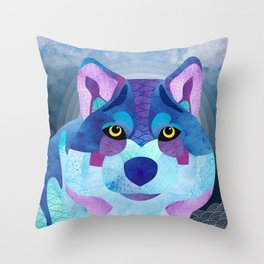 SHANTI SPARROW: Shadow the Wolf Throw Pillow