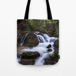 Magical waterfall in gorge Hell Tote Bag
