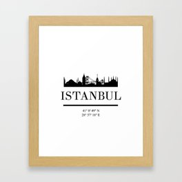 ISTANBUL TURKEY BLACK SILHOUETTE SKYLINE ART Framed Art Print