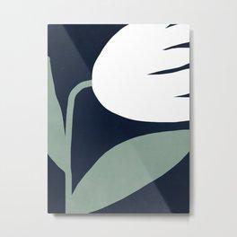 Abstract Flora - navy Metal Print