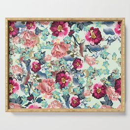 Beautiful victorian rose pattern in vintage style Serving Tray