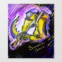 "miles davis Canvas Prints featuring Crocodiles Davis by Abel Charrow's ""Crocodiles Davis"""