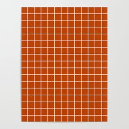 Mahogany - orange color - White Lines Grid Pattern Poster