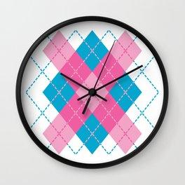 Pink-Blue Argyle Design Wall Clock
