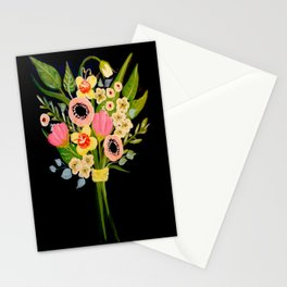 Floral Bouquet on Black Background Stationery Cards