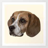 beagle Art Prints featuring Beagle by Goncalo