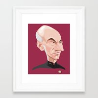 picard Framed Art Prints featuring Captain Jean-Luc Picard by Greene Graphics
