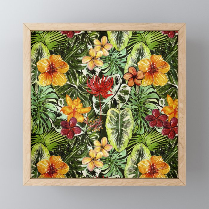 Tropical Vintage Exotic Jungle Flower Flowers - Floral watercolor pattern Framed Mini Art Print