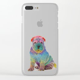 Colorful Sharpei Clear iPhone Case