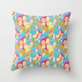 Electric Banana Monkey Throw Pillow
