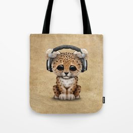 Cute Leopard Cub Dj Wearing Headphones Tote Bag