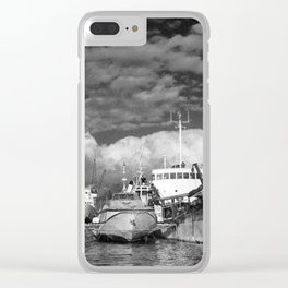 Ships at the harbor Clear iPhone Case
