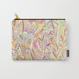 Abstract pink yellow teal hand painted bohemian feathers Carry-All Pouch