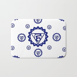 "BLUE SANSKRIT CHAKRAS PSYCHIC WHEEL "" SPEAK"" Bath Mat"
