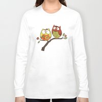 decorative Long Sleeve T-shirts featuring Decorative Owls by sheena hisiro