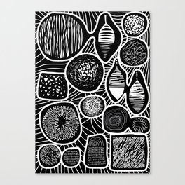 Black and white pattern - linogravure style Canvas Print