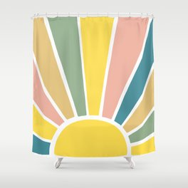 Retro Sun Ray Burst Shower Curtain