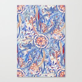 Boho Flower Burst in Red and Blue Canvas Print