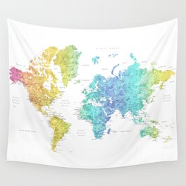 """Rainbow gradient watercolor world map with cities """"Maxwell"""" - SIZES LARGE & XL ONLY Wall Tapestry"""