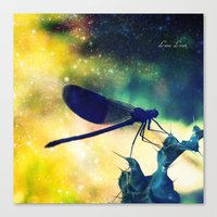 dragonfly Canvas Prints featuring Dragonfly by Luiza Lazar