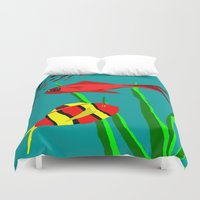 scuba Duvet Covers featuring Scuba Diver by Happy Fish Gallery