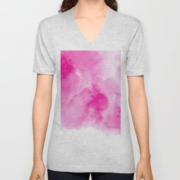 Hand painted magenta pink modern watercolor Unisex V-Neck