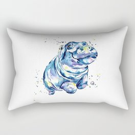 Hippo Colorful Watercolor Hippo Painting - Grace Rectangular Pillow