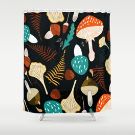 Mushrooms and leaves in autumn Shower Curtain