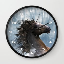 Mustang Horse in the snow Wall Clock