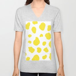 Yellow Cow Print Background Unisex V-Neck