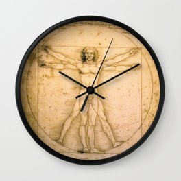 Vitruvian Man by Leonardo da Vinci Wall Clock