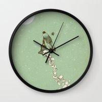 flight Wall Clocks featuring Solitary Flight by Eric Fan