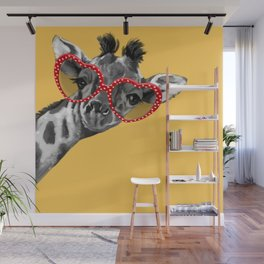 Hipster Giraffe with Glasses Wall Mural