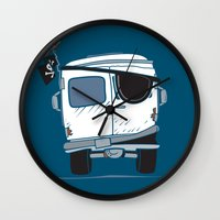 booty Wall Clocks featuring The Booty Wagon by Brandon Ortwein