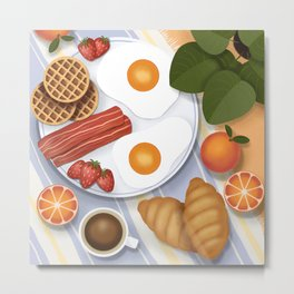 Breakfast illustration. Picnic outdoor scene, top view. Fried eggs, bacon, waffles, croissants, coffee, fruits and plants Metal Print