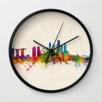 singapore Wall Clocks featuring Singapore Skyline by artPause