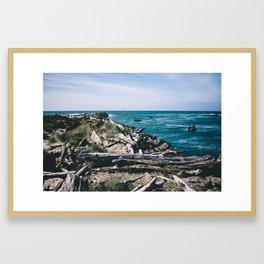 Jetty Fishing || Oregon Coast Framed Art Print