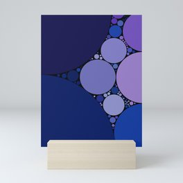 sophia - shades of purple blue with black outline abstract design Mini Art Print