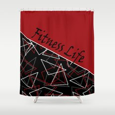 The fitness club . Red black creative pattern . Shower Curtain