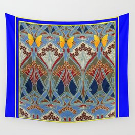 Ornate blue & Yellow Art Nouveau Butterfly Red Designs Wall Tapestry