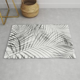 Black and White Tropical Palms Rug