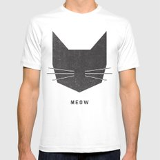 MEOW MEDIUM White Mens Fitted Tee