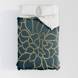 Festive, Floral Prints, Line Art, Dark Teal and Gold Comforters