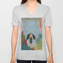 Girl in tropical jungle waterfall Unisex V-Neck