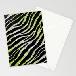 Ripped SpaceTime Stripes - Lime Yellow/White Stationery Cards