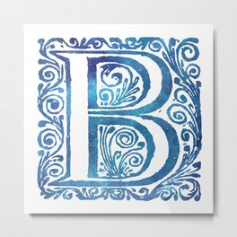 Letter B Antique Floral Letterpress Monogram Metal Print