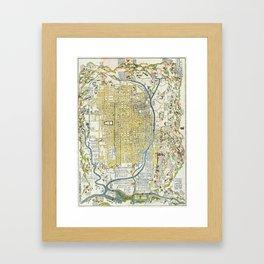 Japanese woodblock map of Kyoto, Japan, 1696 Framed Art Print