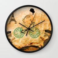 """tour de france Wall Clocks featuring Monsieur Bone and """" le  Tour de France """" by Joe Ganech"""
