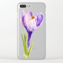 Delicate spring flower of crocus Clear iPhone Case